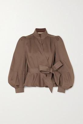 ANNA MASON Stella Cotton-twill Wrap Jacket - Brown