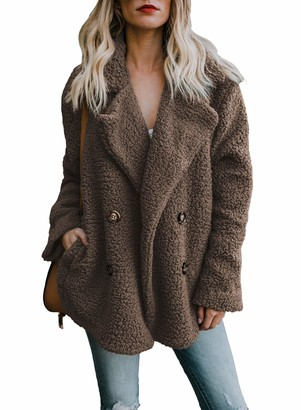 Actloe Women Fleece Open Front Long Sleeve Cardigan Casual Coat with Pockets Plus Size Coffee XX-Large