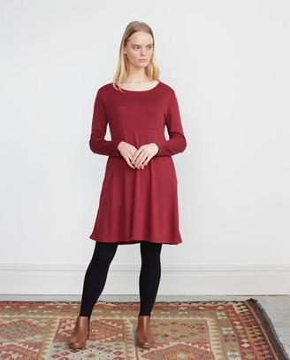 Beaumont Organic Iris Lyocell Jersey Dress In Burgundy - Burgundy / Medium