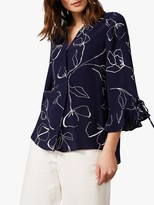 Phase Eight Linear Blouse, Navy