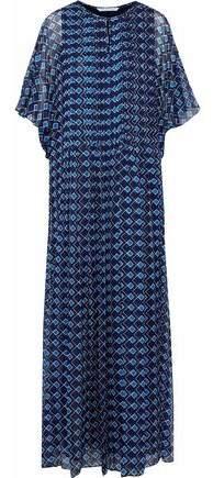 Diane von Furstenberg Pleated Printed Silk-Gauze Maxi Dress