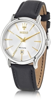 Epoca Maserati White Dial and Black Leather Strap Men's Watch