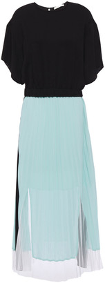 Maje Ranbala Paneled Pleated Crepe De Chine And Knitted Midi Dress
