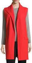 Eileen Fisher Icon Boiled Wool Funnel-Neck Long Vest