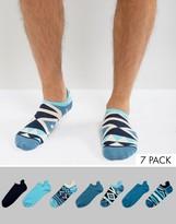 Asos Sneaker Socks In Blue Geo-Tribal Pattern 7 Pack