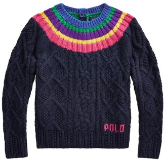 Ralph Lauren Kids Rainbow Aran-Knit Sweater (7-14 Years)