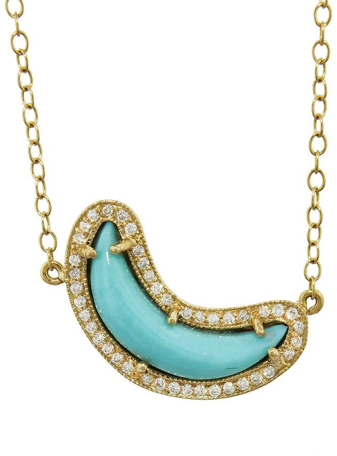Andrea Fohrman Turquoise and White Diamond Crescent Moon Necklace