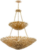 Crystorama 18-Light Leaf Chandelier, Antiqued Gold