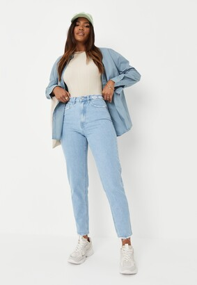 Missguided Blue High Waisted Distressed Waist Jeans