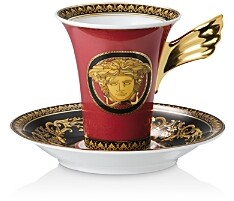 Versace Rosenthal Medusa Red Coffee Cup & Saucer