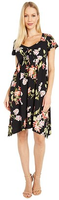 Tommy Bahama Petal of Honor Cap Sleeve Dress (Black) Women's Clothing