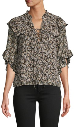 Lea & Viola Ruffle Floral Lace-Up Top