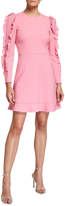 RED Valentino Long-Sleeve Cady Tech Dress with Ruffles