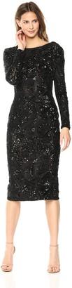 Dress the Population Women's Emery Long Sleeve Sequin Sheath Dress