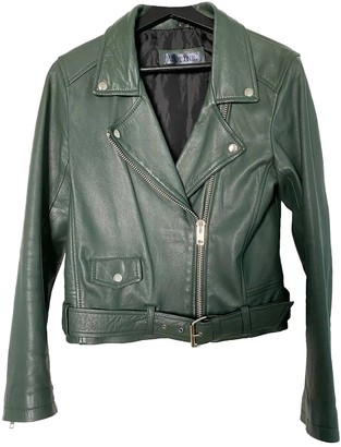 Meotine Green Leather Jacket for Women