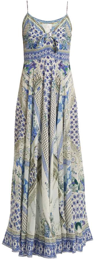 Camilla Salvador Summer-print tie-front silk dress