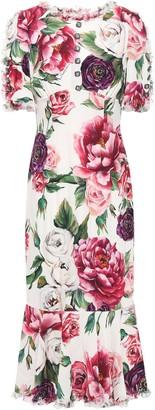 Dolce & Gabbana Embellished Floral-print Silk Midi Dress
