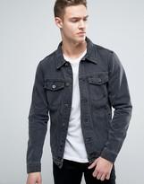 Pull&Bear Denim Jacket In Washed Black