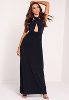Missguided Cross Halter Slinky Maxi Dress Navy