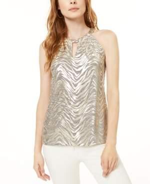 INC International Concepts Inc Shiny Zebra Halter Top, Created for Macy's