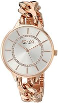SO&CO New York Women's 5225.4 SoHo Quartz Silver Crystal Accented Dial Stainless Steel 16K Rose-Tone Chain-Link Bracelet Watch
