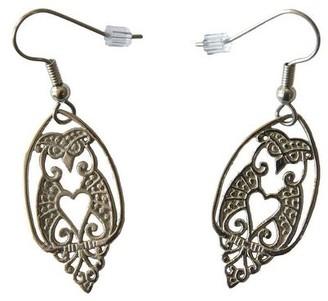 Handmade White Brass Owl Love Dangle Earrings by Spirit