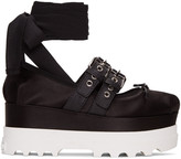 Miu Miu Black Double Buckle Platform Ballerinas