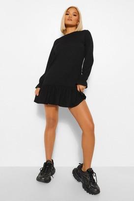boohoo Petite Rib Frill Hem Long Sleeve Shift Dress