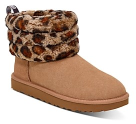 UGG Women's Fluff Mini Quilted Round Toe Suede & Sheepskin Boots