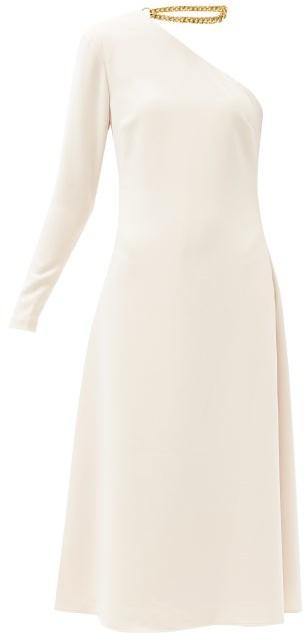 STAUD Christie Chain-collar Asymmetric Crepe Dress - Beige