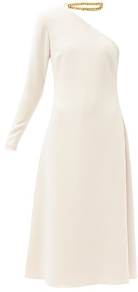 STAUD Christie Chain-collar Asymmetric Crepe Dress - Beige