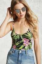 Forever 21 Tropical Cami Thong Bodysuit