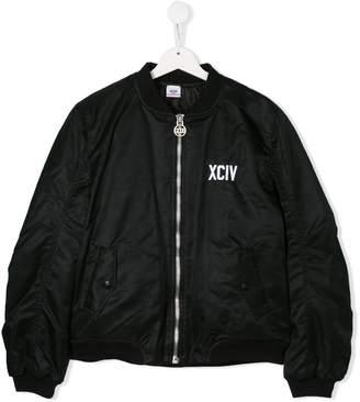 Gcds Kids TEEN logo embroidered bomber jacket