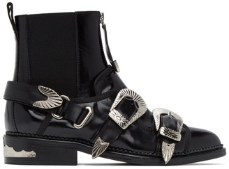 Toga Pulla Black Two Buckle Western Boots