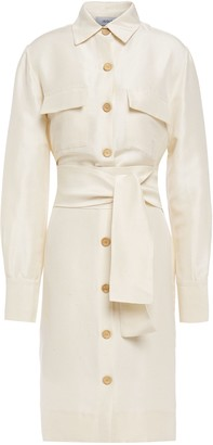 Isolda Belted Silk-shantung Shirt Dress
