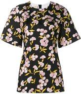 Marni floral print short sleeve top - women - Silk/Cotton - 42
