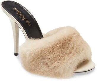Saint Laurent Roy Genuine Mink Fur Sandal
