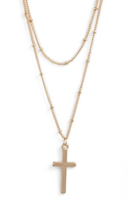 8 Other Reasons Cross Pendant Layered Necklace
