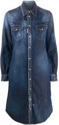DSQUARED2 Distressed Denim Shirt Dress