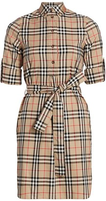 Burberry Giovanna Check Belted Shirtdress