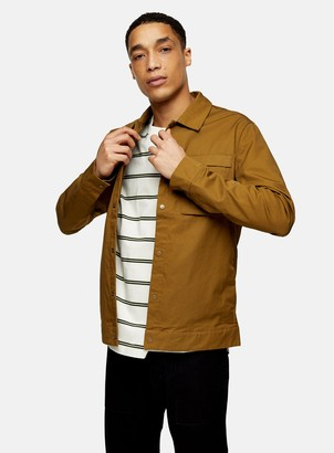 Topman SELECTED HOMME Brown Popper Lightweight Jacket