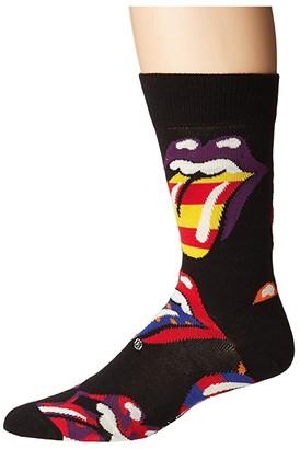 Happy Socks Rolling Stones Out Of Control Socks (Black/Multi) Women's Crew Cut Socks Shoes