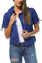 Blue Tie-Sleeve Button-Up Jacket