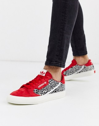 adidas continental vulc in red with leopard print