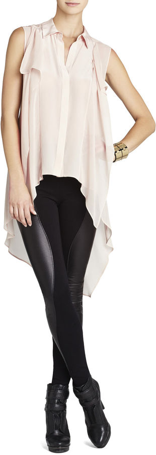 BCBGMAXAZRIA Kaley Silk Cascade-Back Button-Up Shirt