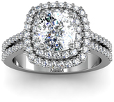 Ice 2 1/2 CT TW Diamond 14K White Gold Vintage Inspired Dual Halo Cushion Cut Engagement Ring