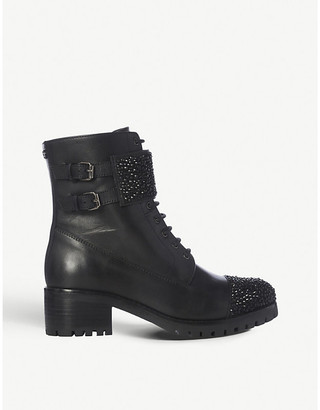 Dune Partie leather heeled ankle boots