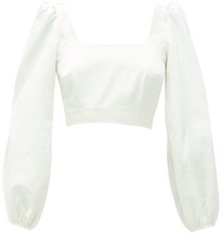 Racil Moire Square-neck Cotton-blend Cropped Top - Ivory