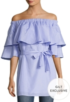 Lucca Couture Women's Poplin Ruffle Off Shoulder Shift Dress
