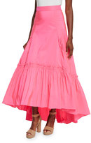 Peter Pilotto Long Bustled Taffeta Skirt, Bright Pink